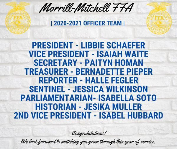 Morrill-Mitchell FFA Chapter Officers Announced!