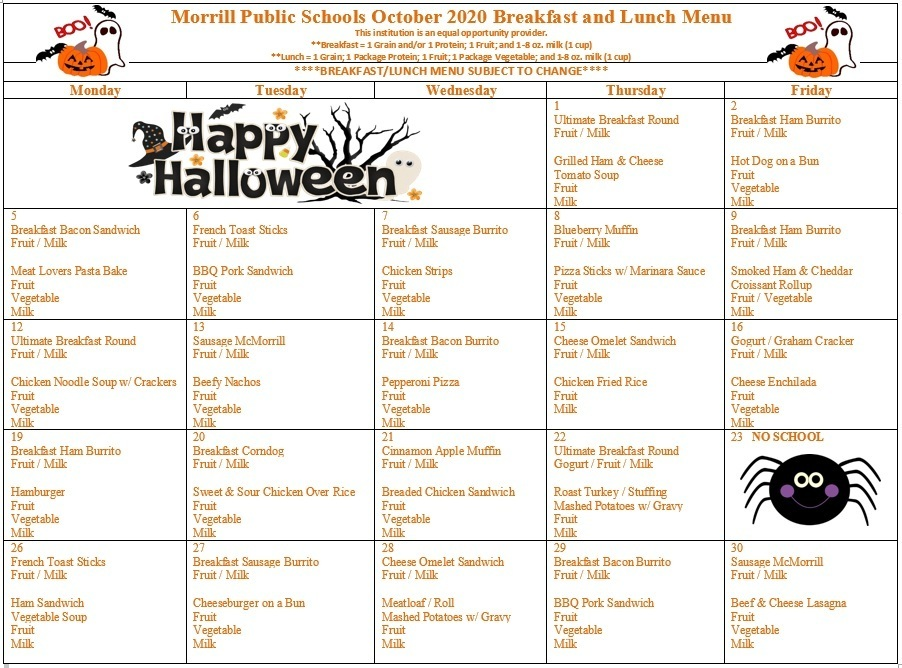 October 2020 Breakfast/Lunch Menu