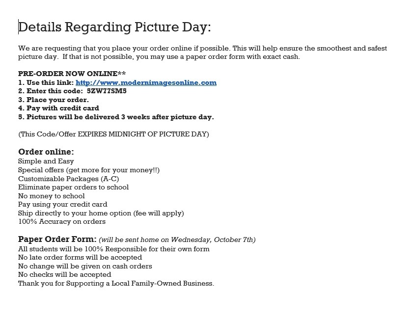 School Picture Ordering Information