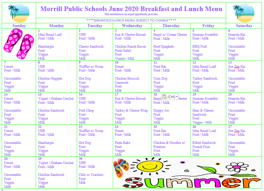 Revised June 2020 Breakfast/Lunch Menu
