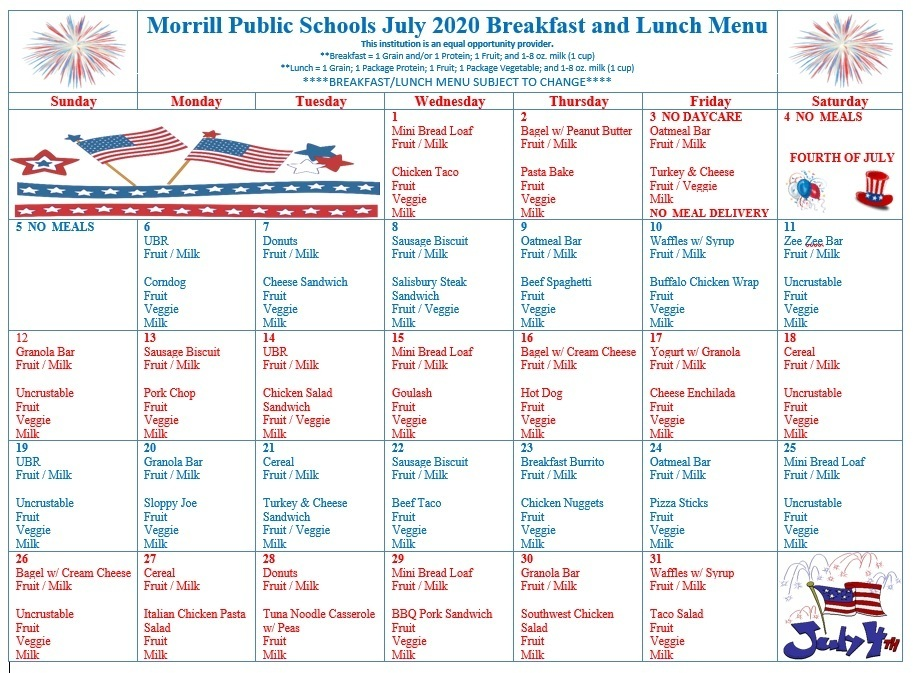 July 2020 Breakfast/Lunch Menu