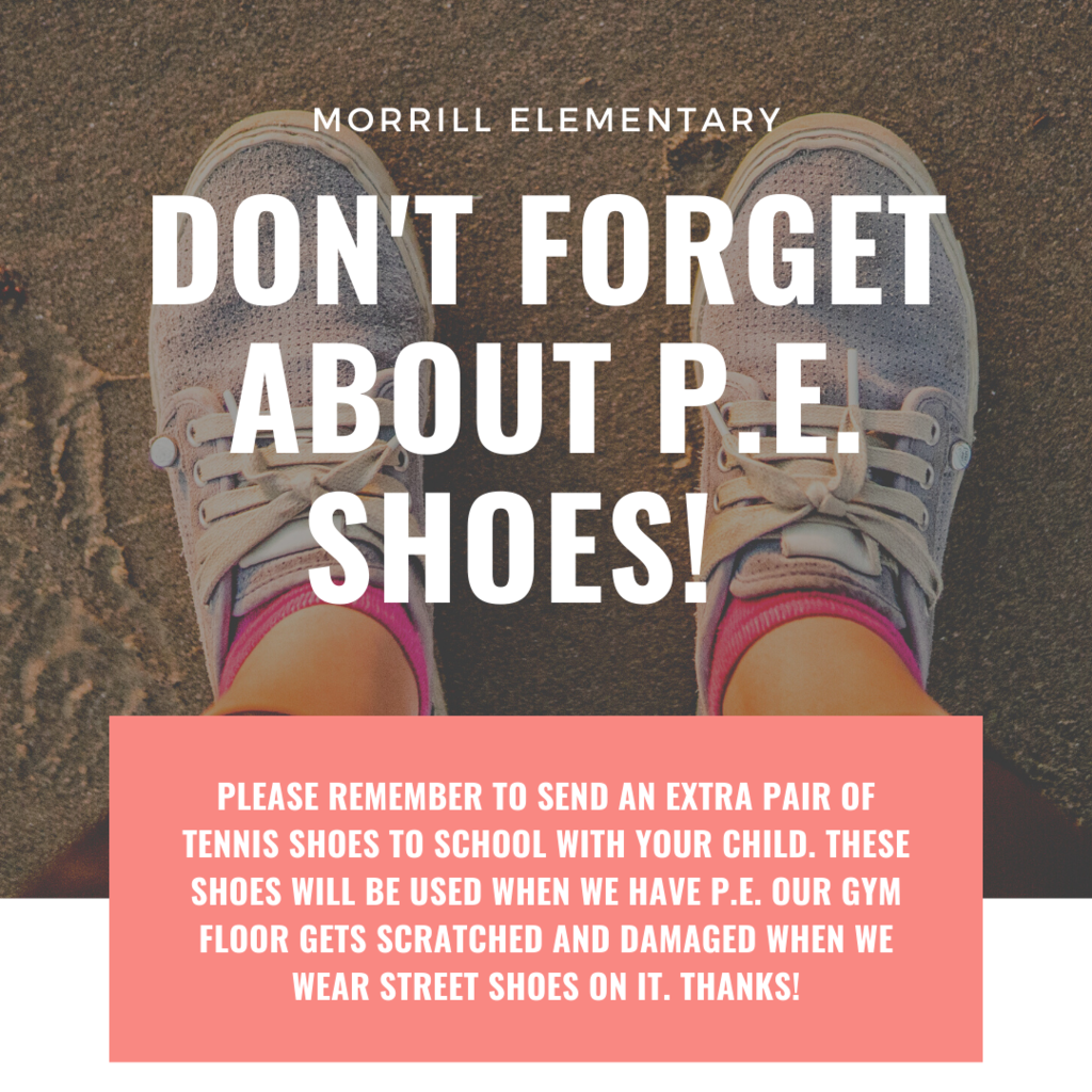 Please remember to send an extra pair of tennis shoes to school with your child. These shoes will be used when we have P.E. Our gym floor gets scratched and damaged when we wear street shoes on it. THANKS!
