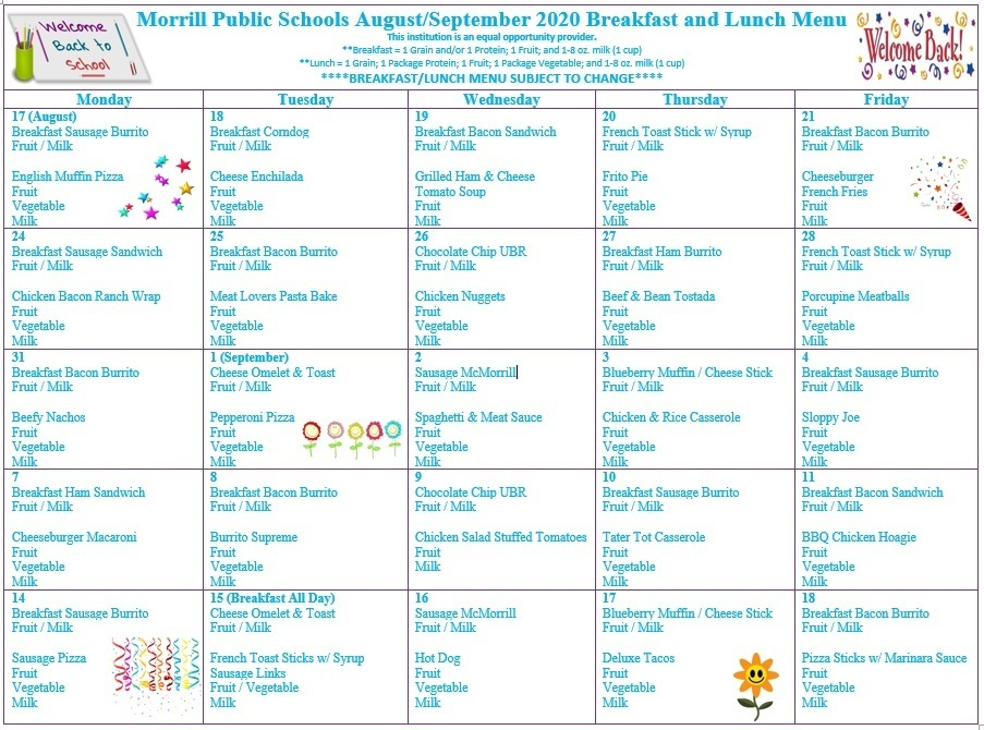 August & September 2020 Breakfast/Lunch Menu