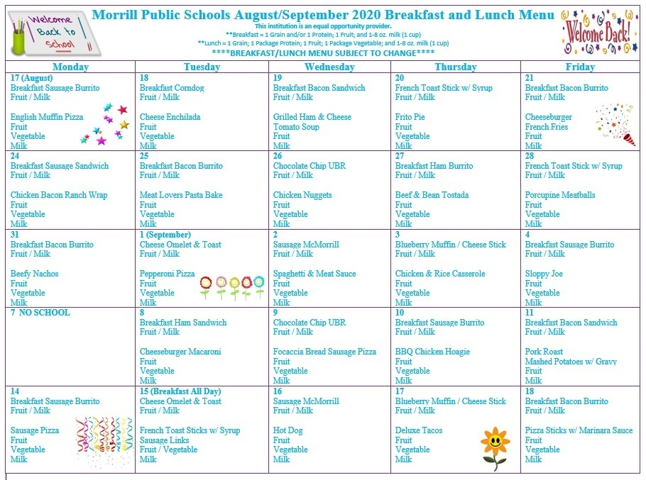 Updated September 2020 Breakfast/Lunch Menu