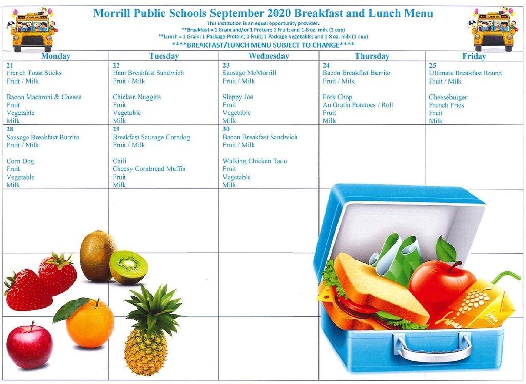Sept. 21st-30th Breakfast/Lunch Menu