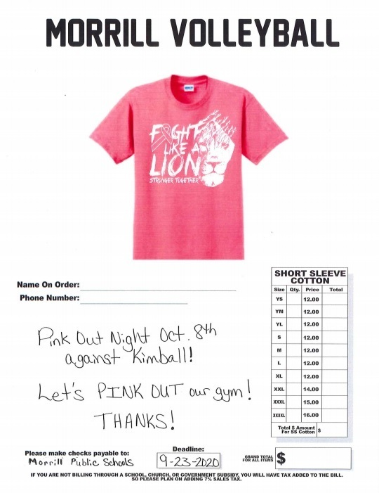 Pink Out T-Shirt Order Form